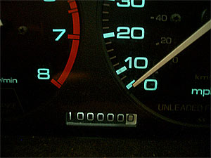 photo of an odometer at 100000 miles. Photo available under a creative common license at http://www.flickr.com/photos/giantginkgo/65858873/