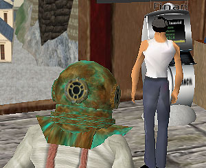 screen shot of Second Life residents at ATM machine