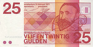 Dutch 25 Guilder banknote