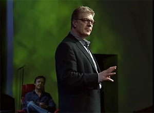still image of Sir Ken Robinson speaking at the TED Conference