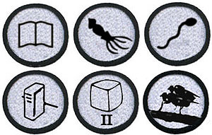 Some of Science Creative Quarterly's merit badge