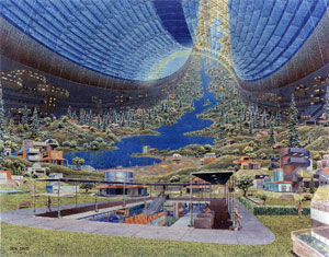 artist rendering of a space colony
