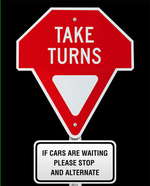 Taking turns sign