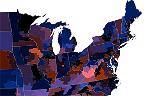 Map of the eastern US showing how often people on dating sites use the word 'kinky'.