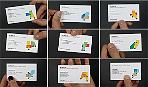 business cards with the MIT Media Lab logo