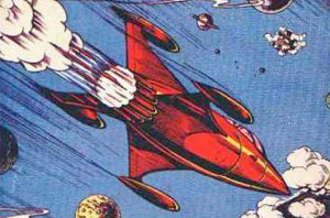 rocket as depicted on some old pulp sci-fi book