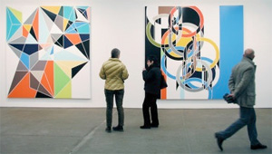 Photo of Sarah Morris paintings