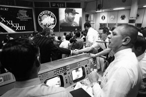Mission Control in Houston after the safe return of Apollo 13