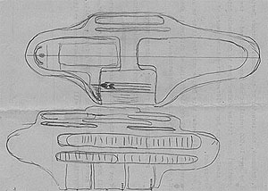 early sketch of the Brannock shoe fitting device