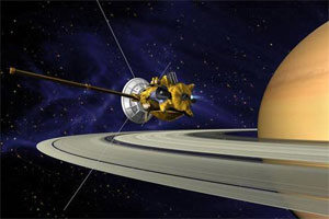 artist rendering of the Cassini spacecraft orbiting Saturn