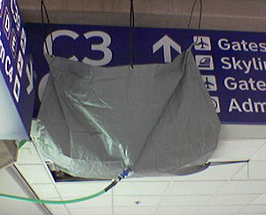 photo of a leak diverter bag at the Dallas Airport