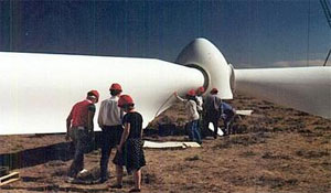 photo of windmill being erected