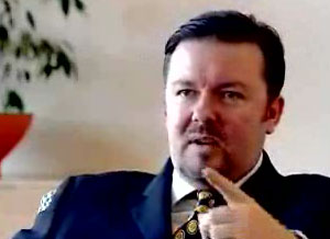 still from Ricky Gervais Microsoft UK video