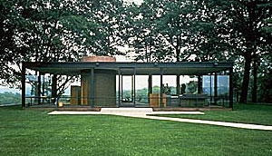shot of Philip Johnson's Glass House