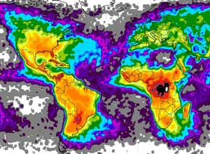map of global lightning hot spots