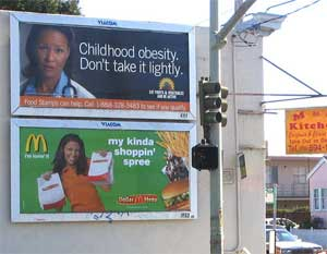 photo of obesity and food billboards, taken by ktheory, flickr.com