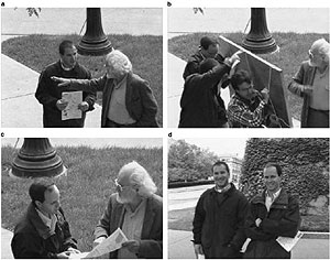 series of images from Simons and Levin's psychology experiment