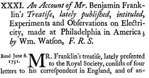close up of Royal Society report from Benjamin Franklin