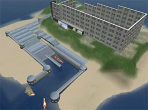 image from the time lapse film of the construction of the Starwood Hotel in Second Life