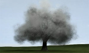 still image from John Gerrard's smoke tree 3-d display